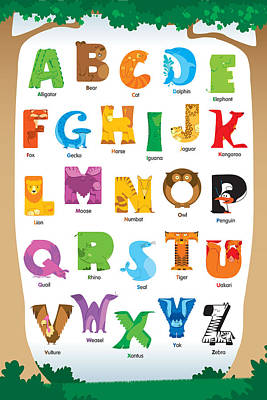 Animal Alphabet Poster by David Corrente