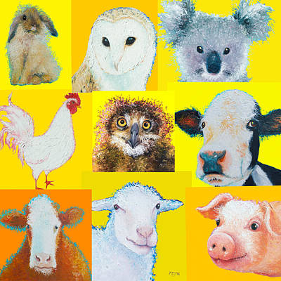 Animal Painting Collage For Nursery Decor Poster by Jan Matson