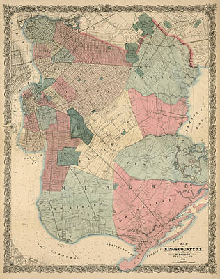 Antique Map Of Brooklyn - New York City - By M. Dripps - 1868 Poster by Blue Monocle