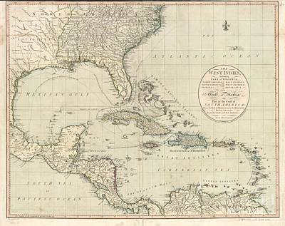 Antique Map Of The Caribbean And Central America By John Cary Poster by Celestial Images