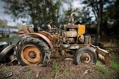 Antique Tractor Poster by Yo Pedro