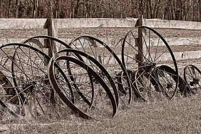 Antique Wagon Wheels I Poster by Tom Mc Nemar