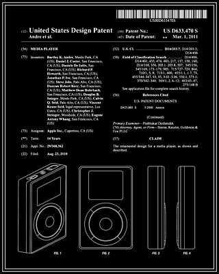 Apple Ipod Patent - Black Poster by Finlay McNevin