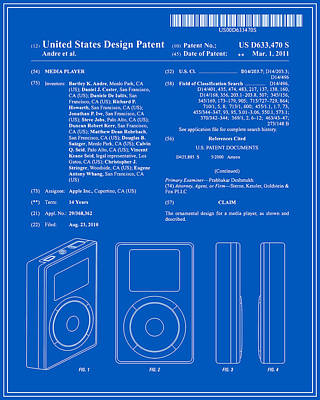 Apple Ipod Patent - Blueprint Poster by Finlay McNevin