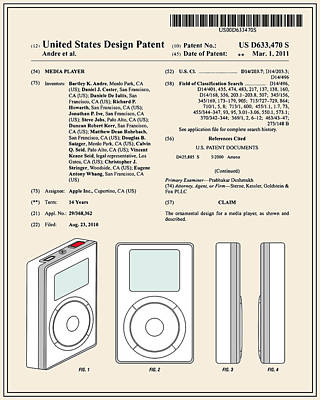 Apple Ipod Patent - Colour Poster by Finlay McNevin