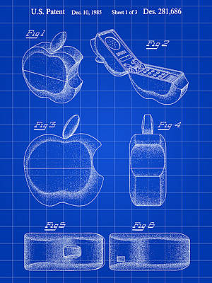 Apple Phone Patent 1985 - Blue Poster by Stephen Younts