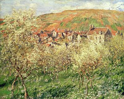 Apple Trees In Blossom Poster by Claude Monet
