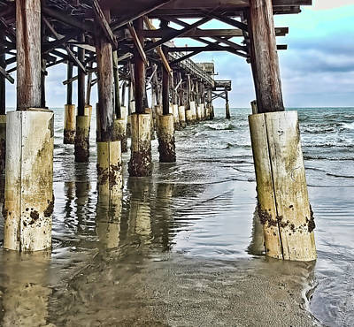 Approaching Dusk - Cocoa Beach Pier Pylons - 1a Poster by Greg Jackson