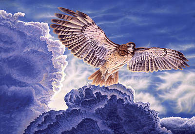 Approaching Storm - Redtailed Hawk Poster by Craig Carlson