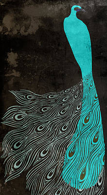 Aqua Peacock Art Nouveau Poster by Mindy Sommers