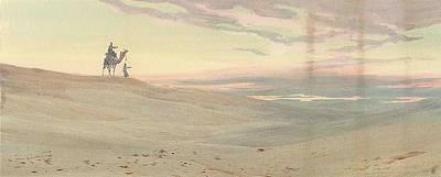 Arabs In The Desert At Dusk Poster by Augustus Osborne