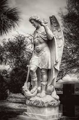 Archangel Michael Slaying Dragon B/w Poster by Melissa Bittinger