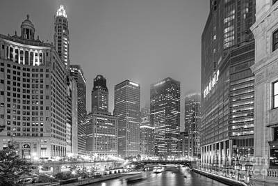Architectural Image Of The Chicago River And Skyline From The Wrigley Building - Chicago Illinois Poster by Silvio Ligutti