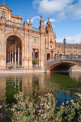 Architecture Of Plaza De Espana In Seville Poster by Jenny Rainbow