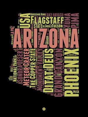 Arizona Word Cloud Map 1 Poster by Naxart Studio