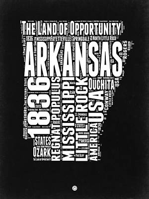 Arkansas Black And White Map Poster by Naxart Studio