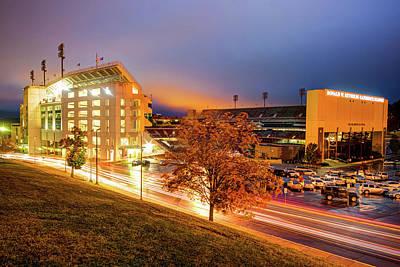 Arkansas Razorback Football Stadium At Night - Fayetteville Arkansas Poster by Gregory Ballos