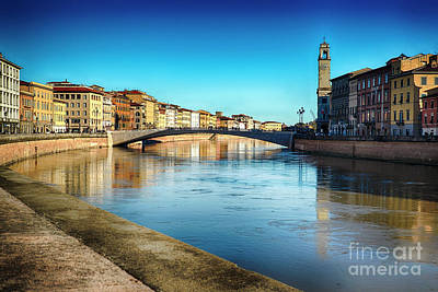 Arno River View In Pisa Poster by George Oze