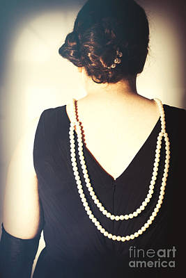 Art Deco Lady In Pearls Poster by Amanda Elwell