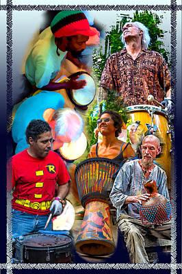 Asheville Drum Circle Collage Poster by John Haldane