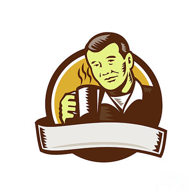 Asian Man Drinking Coffee Circle Woodcut Poster by Aloysius Patrimonio