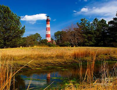 Assateague Lighthouse Reflection Poster by Nick Zelinsky
