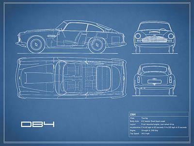 Aston Martin Db4 Blueprint Poster by Mark Rogan