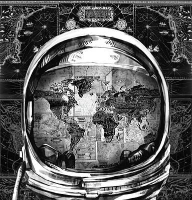 Astronaut World Map 1 Poster by Bekim Art