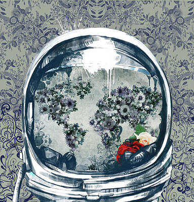 Astronaut World Map 5 Poster by Bekim Art