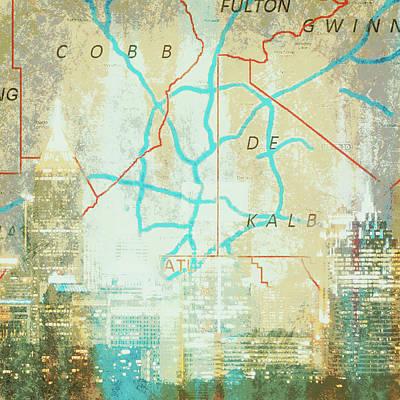 Atlanta Cityscape Poster by Brandi Fitzgerald