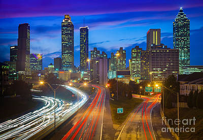 Atlanta Downtown By Night Poster by Inge Johnsson
