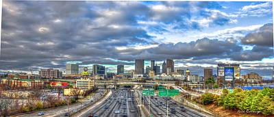 Atlanta Wide Angle Downtown Atlanta Cityscape Skyline Art Poster by Reid Callaway