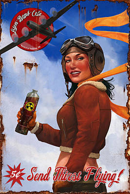 Atom Bomb Cola Send Thirst Flying Poster by Steve Goad
