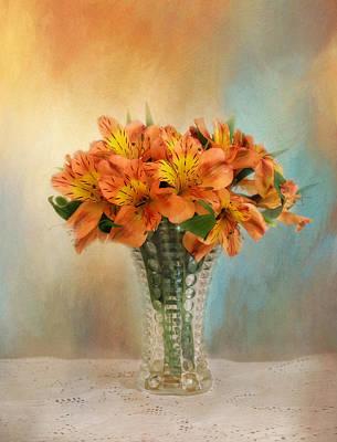 Autumn Alstroemeria Flowers Poster by Kim Hojnacki
