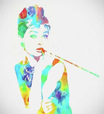 Audrey Hepburn Watercolor Poster by Dan Sproul