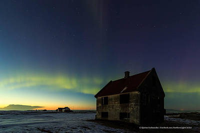 Aurora Over Sunset. Poster by Kjartan Gudmundur Juliusson