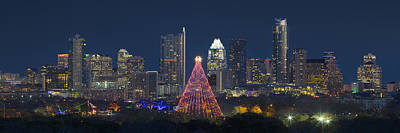 Austin Panorama Of The Trail Of Lights And Skyline Poster by Rob Greebon