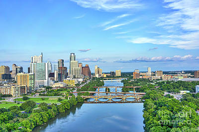 Austin Skyline From Above Poster by Tod and Cynthia Grubbs