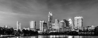 Austin Skyline Pano In Black And White Poster by Tod and Cynthia Grubbs