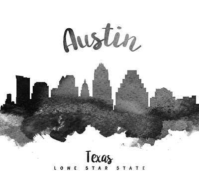 Austin Texas Skyline 18 Poster by Aged Pixel