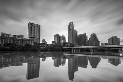 Austin Texas Skyline Reflecting In Ladybird Lake Long Exposure Poster by Todd Aaron