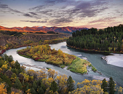 Autumn Along The Snake River Poster by Leland D Howard