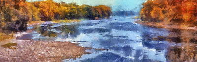 Autumn By The River Poster by Thomas Woolworth