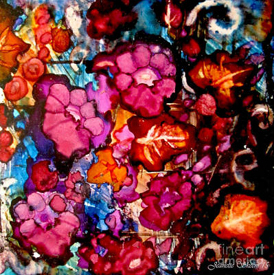 Autumn Leaves And Pink Flowers Poster by Jeanette Skeem