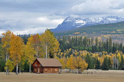 Autumn Mountain Cabin In Glacier Park Poster by Bruce Gourley