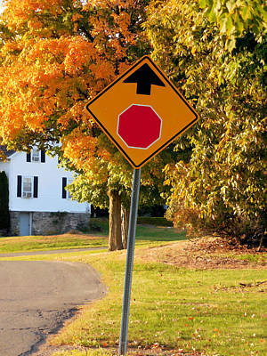 Autumn Scene With Road And Stop Sign Poster by Lanjee Chee