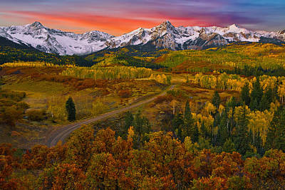 Autumn Sunrise Over The Sneffels Range Poster by Guy Schmickle