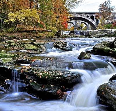 Autumnal Waterfall Poster by Frozen in Time Fine Art Photography