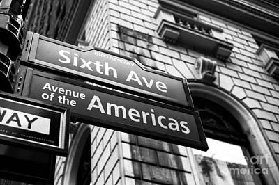 Avenue Of The Americas Mono Poster by John Rizzuto