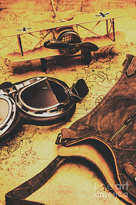 Aviator Goggles Cap And Airplane On Old World Map Poster by Jorgo Photography - Wall Art Gallery